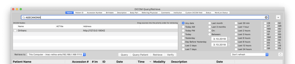 Query the PACS from OsiriX MD
